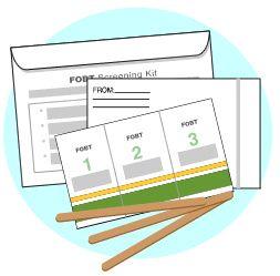 Paquete de la prueba de sangre oculta en la materia fecal (FOBT): se muestra la tarjeta, el aplicador y el sobre de devolución.