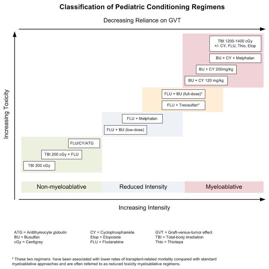 図は現在の定義で骨髄非除去的、用量強度縮小、または骨髄除去的レジメンとして分類された、小児HCTに頻繁に用いられる特定の前処置レジメンを示している。