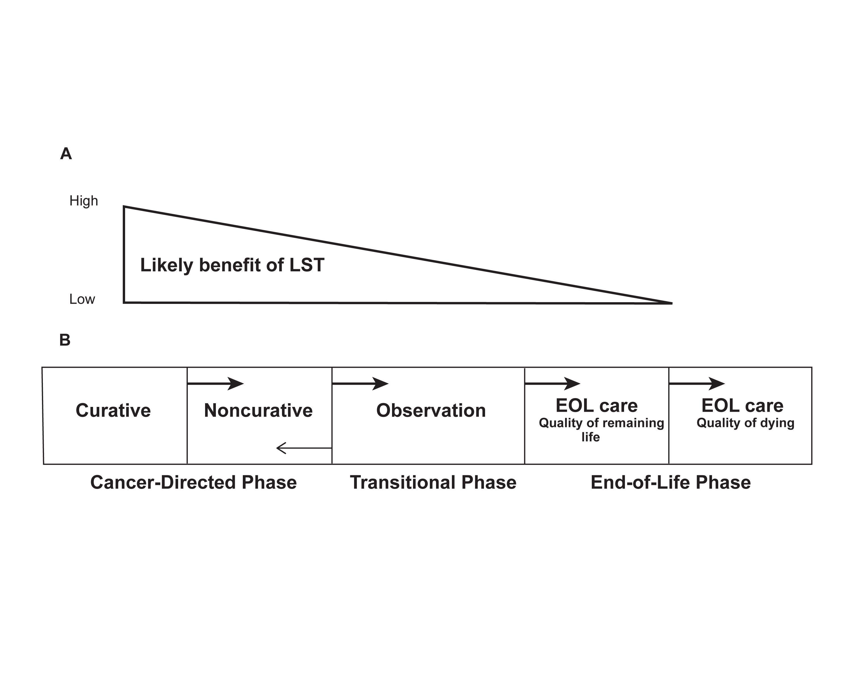図は、進行がんにおける終末期ケアへの移行計画の段階モデルを示している。