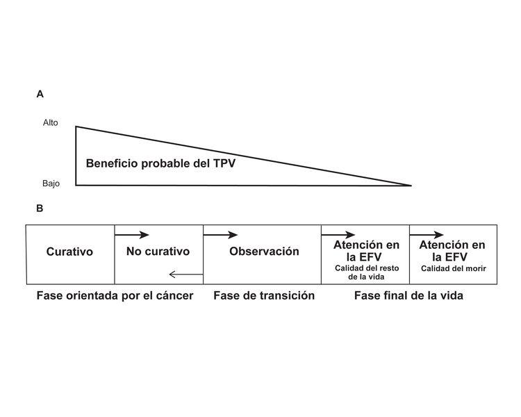 Diagrama que muestra un modelo de fase de la planificación de la transición para la atención de pacientes de cáncer avanzado en la etapa final de la vida (EFV).