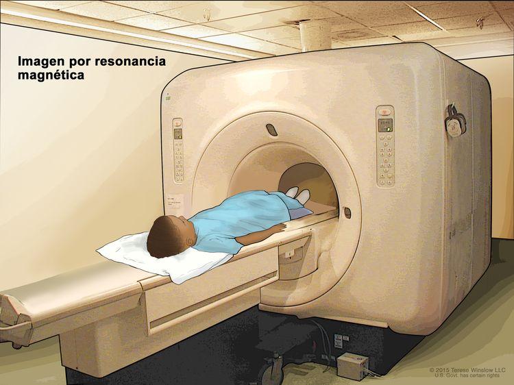 Imágenes por resonancia magnética (IRM) del abdomen; el dibujo muestra al niño en una camilla que se desliza hacia la máquina de IRM, la cual toma una radiografía de la parte interior del cuerpo. La almohadilla en el abdomen del niño ayuda a tomar imágenes más claras.