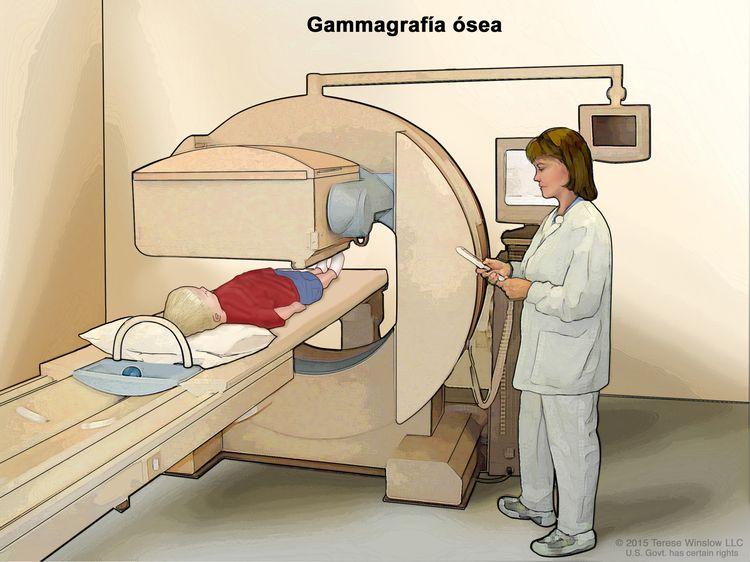 Gammagrafía ósea; en la imagen se observa un niño acostado sobre una camilla que se desliza debajo del escáner, un técnico que maneja el escáner y una pantalla que mostrará imágenes durante la exploración.