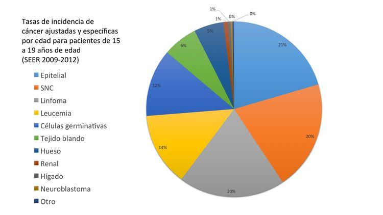 En el gráfico de sectores se muestran las tasas de incidencia de cáncer ajustadas y específicas por edad en pacientes de 15-19 años (SEER 2009-2012).
