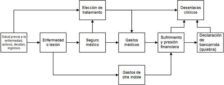 Diagrama que muestra el marco conceptual relacionado con una enfermedad grave, la elección de tratamiento y los desenlaces clínicos y financieros.