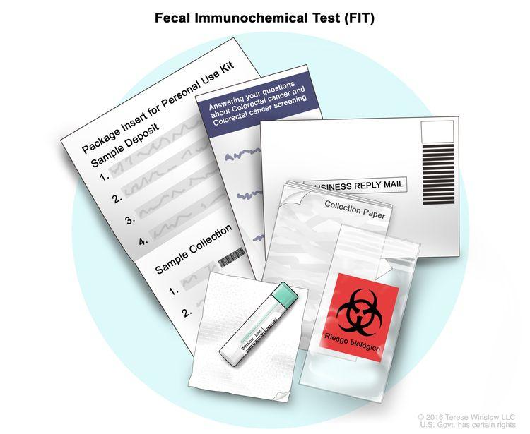 Фекальный иммунохимический тест (FIT);  На чертеже показан комплект FIT, который включает вкладыш в упаковку, бумагу для сбора и трубку для сбора с маленькой щеточкой внутри.  Также показаны пакет для биологических опасностей, обратный конверт и бумага с информацией о колоректальном раке и скрининге на колоректальный рак.